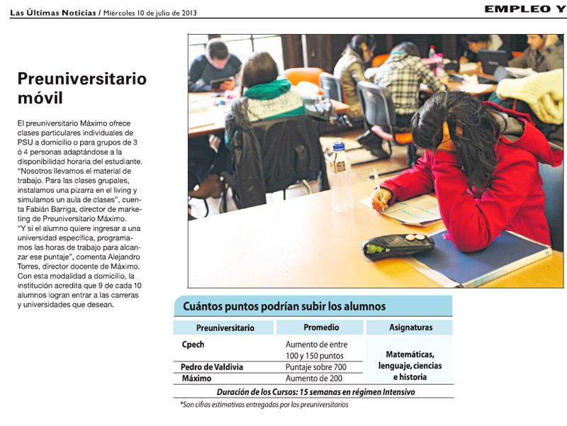 Preuniversitario Máximo en Las Últimas Noticias 2013